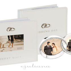 Album foto, carte de oaspeti si rama verighete argintata pentru miri