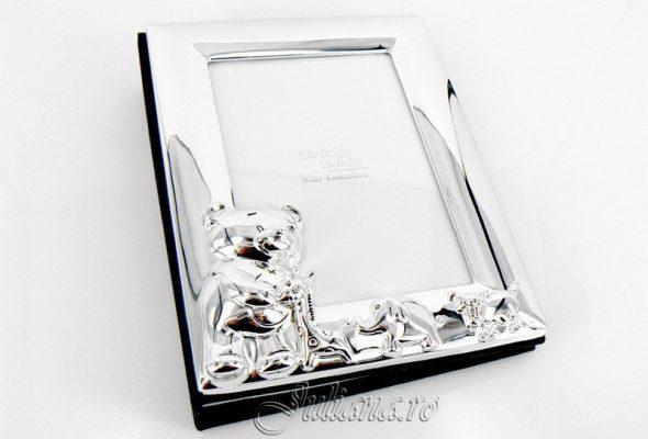 Album foto, album cu ursulet pentru bebelusi, Album argintat pentru fotografiile bebelusului