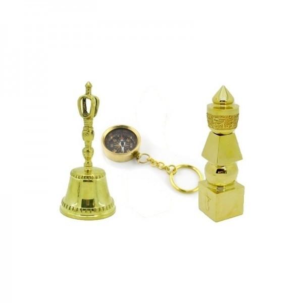 clopotel tibetan, breloc cu busola si pagoda celor cinci elemente