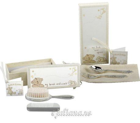 Cadou pentru bebelusi cu perie pieptan si tacamuri