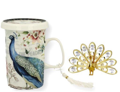 Cana de ceai infuzor paun cristale swarovski