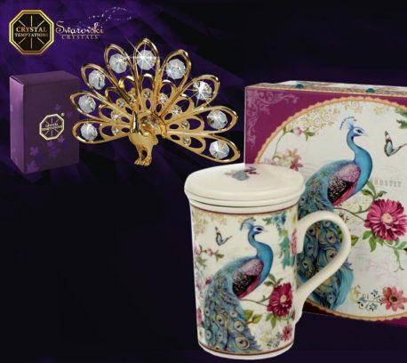 Cana ceai paun cristale Swarovski placat cu aur de 24 cadou pentru femei