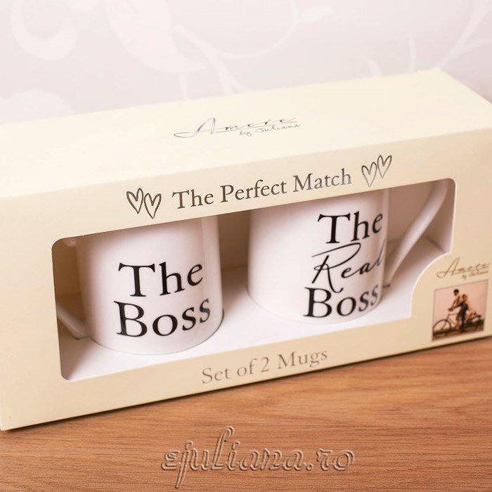 Cani de cafea pentru cuplu si miri The Boss The Real Boss