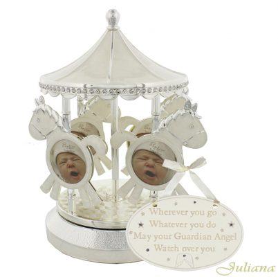 Carusel muzical argintat placuta camera bebelusului