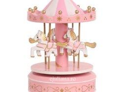 Carusel muzical roz alb cadou de botez pentru fetite