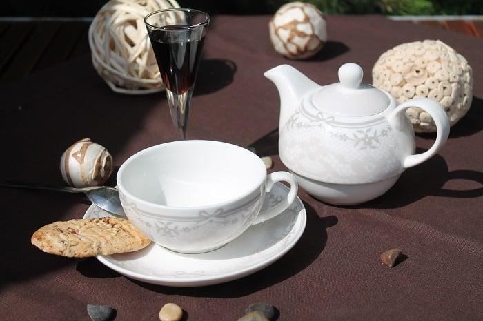 Set ceainic de portelan fin parizian