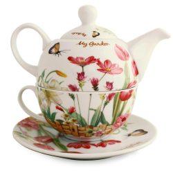 Ceainic de portelan decorat cu flori de gradina si fluturi