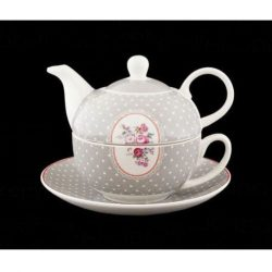 ceainic de portelan cu buline albeh
