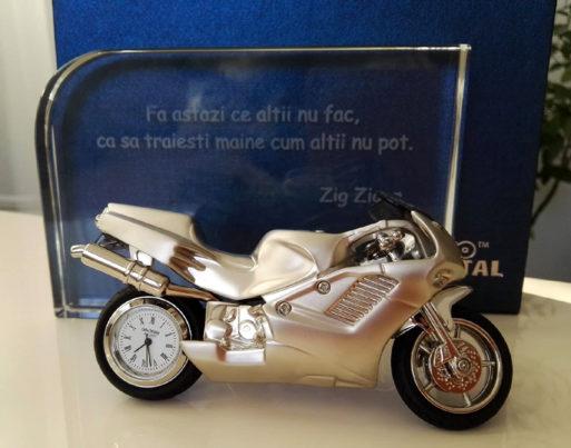 Trofeu de cristal ceas de birou motocicleta