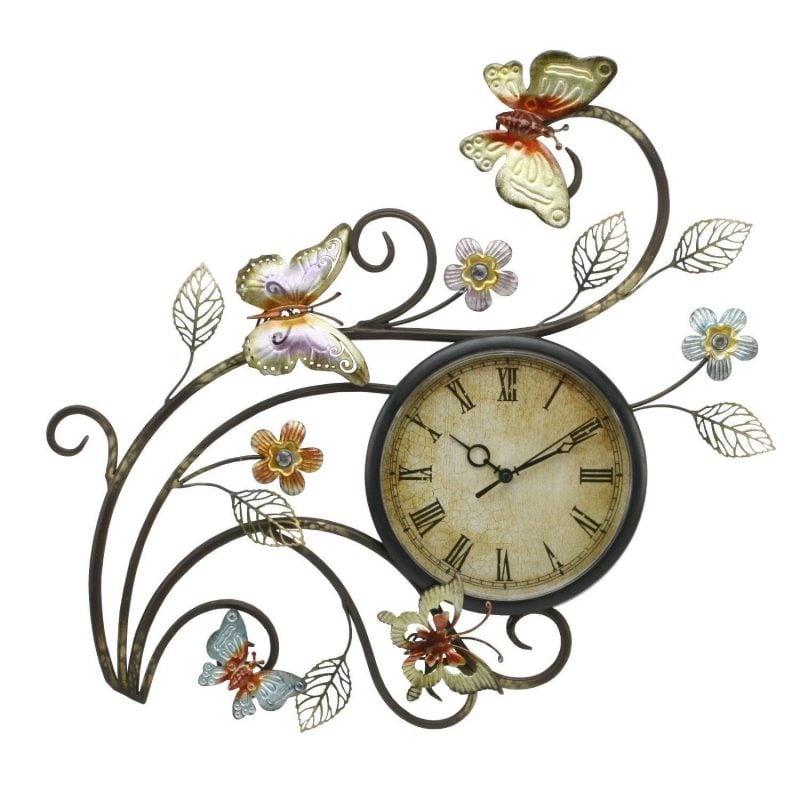 Ceas de perete vintage cu fluturi