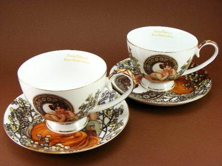 Cesti de cafea albe Alfons Mucha 200ml