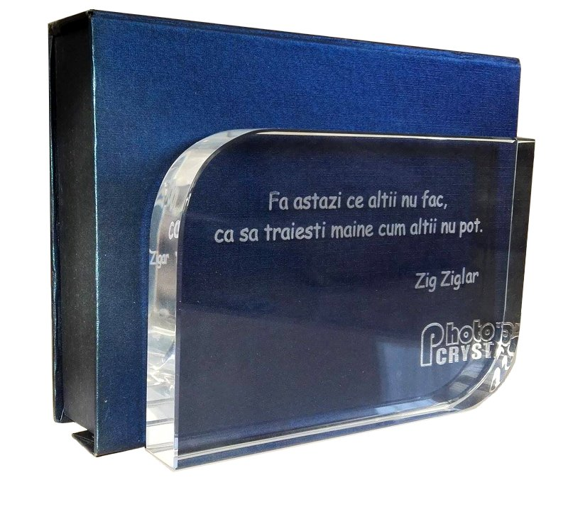 Trofeu de cristal cu mesaj motivational