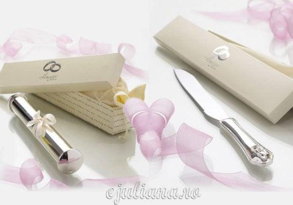 Cutit de tort si suport pentru certificat de nunta