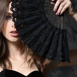Evantai negru de dantela