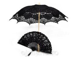 Evantai si umbrela de dantela neagra pentru femei