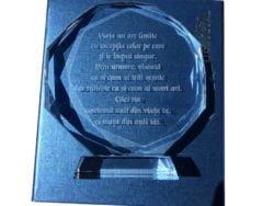 Cristal de trofeu cu mesaj de succes