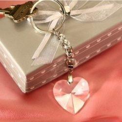 Breloc inimioara de cristal marturii de nunta sau botez