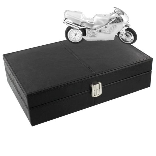 Cutie de ceasuri motocicleta sport argintie pentru barbati
