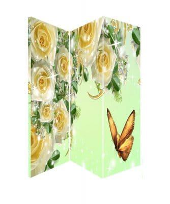 Paravan despartitor decorativ de camera trei panouri, paravan cu trandafiri albi pentru interior