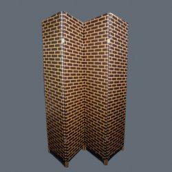 Paravan despartitor decorativ fire de bambus natural zid maron