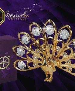 Paun cu cristale Swarovski placat cu aur de 24 cadou pentru femei