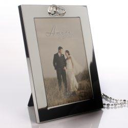 Rama foto argintata cu inele pentru miri si aniversare