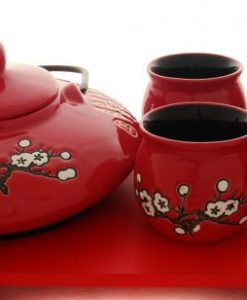 Set de ceai oriental cesti rosii interior negru