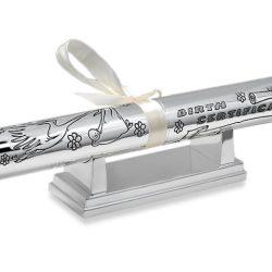 Suport pentru certificat de nastere argintat set cu baza
