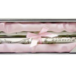 Suport pentru certificat de nastere argintat pentru fetita