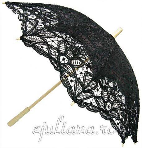 Umbrela de dantela neagra
