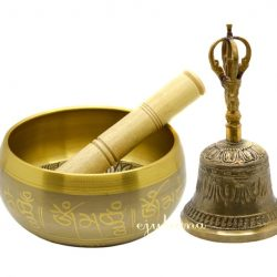 Clopotel tibetan si bol cantator facut in India
