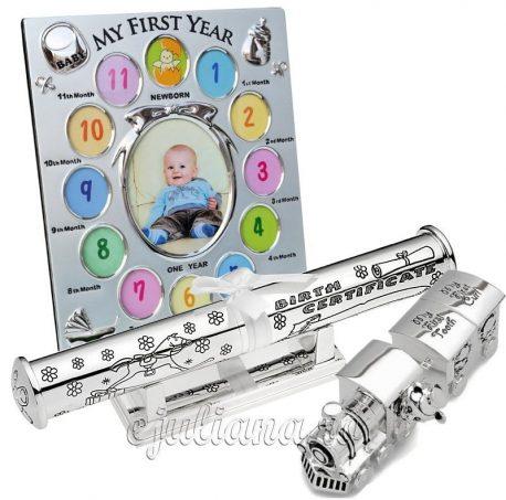 Rama pentru primul an al bebelusului placata cu argint dn colectia Impressions by Juliana