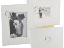Album carte de oaspeti si rama de nunta cu inimioara argintata Juliana