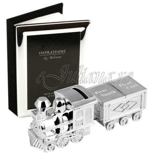 Album foto argintat set tren mot dintisor