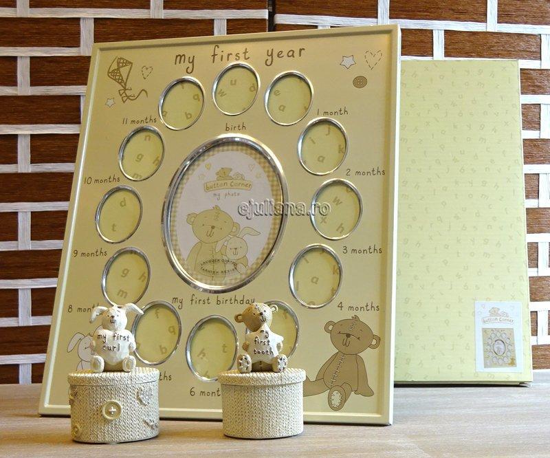 Rama primul an ursulet cutiute pentru mot dintisor, cadou de botez pentru fetita