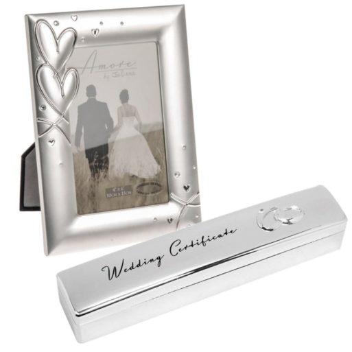 Cadou de nunta rama suport de certificat caseta placate cu argint