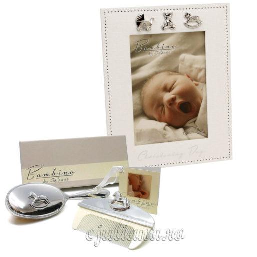 Rama foto set perie cadou de botez pentru bebelusi