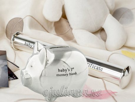 Cadou pentru bebelus pusculita suport certificat de nastere