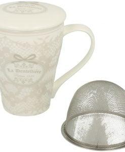 Cana de ceai cu infuzor din portelan dantelat