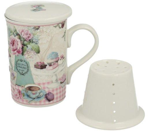 Cana de ceai cu infuzor prajituri