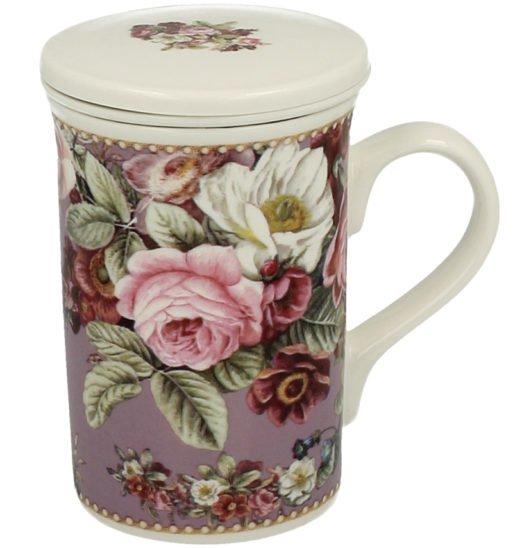 Set ceai infuzor portelan trandafiri vintage