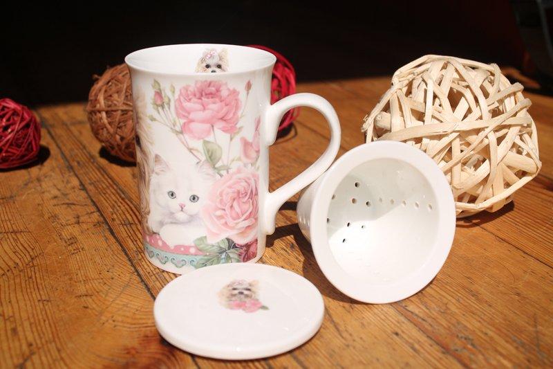 Cana de ceai cu infuzor cu pisicute si catel