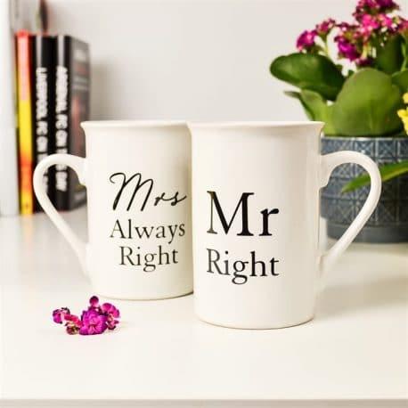 Cani de portelan pentru cuplu si aniversare Mr.Right & Mrs.Always Right