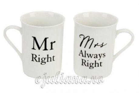 Cani pentru cuplu Mr.Right Mrs.Always Right