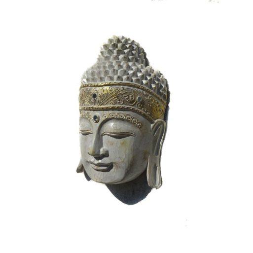 Cap de Buda din lemn sculptat alb