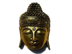 Cap de Buda din lemn sculptat bronz