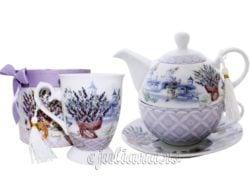 Cana set ceainic portelan lavanda