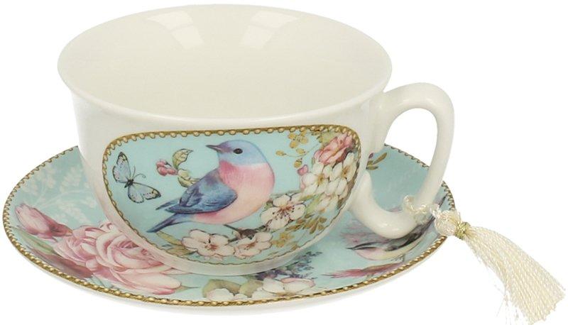 Ceasca de cafea din portelan fin in set cu farfurioara decorata cu pasari, fluturi si flori