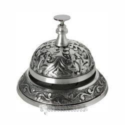 Clopotel de receptie argintiu sculptat hotel