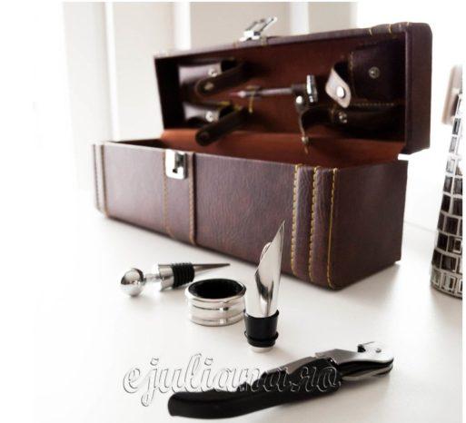 Cutie pentru sticla de vin piele maro